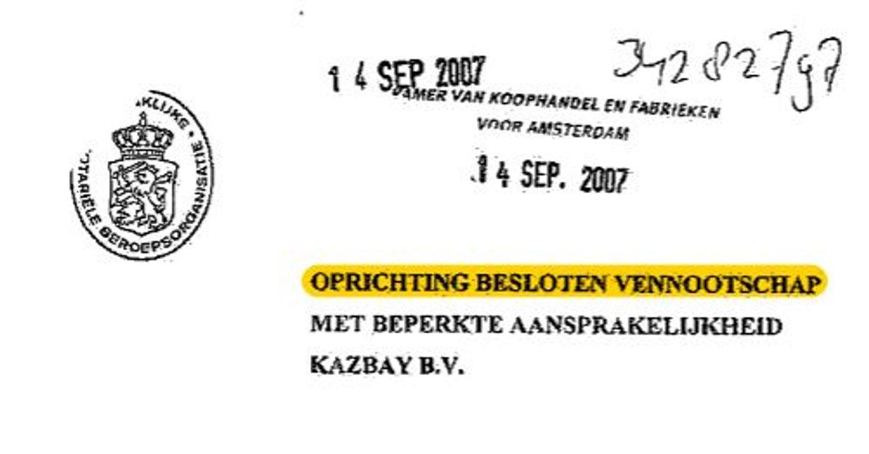 Oprichting bv kazbay